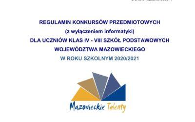 KONKURSY PRZEDMIOTOWE W ROKU SZKOLNYM 2020/2021